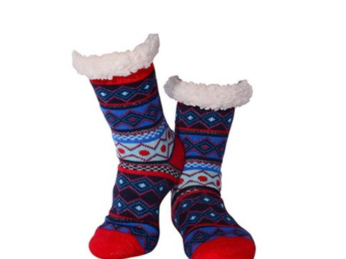 Nuzzles Mens Non-Skid Sole Lined Christmas Socks