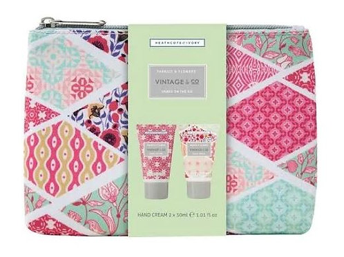 Heath cote and ivory fabrics and flowers hand cream duo pouch