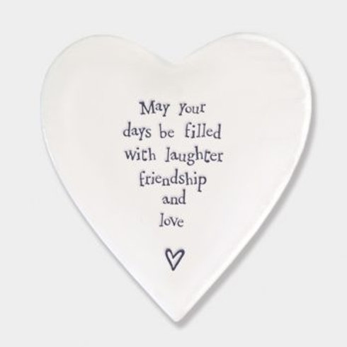 East of India 'may your days be filled' Porcelain heart coaster