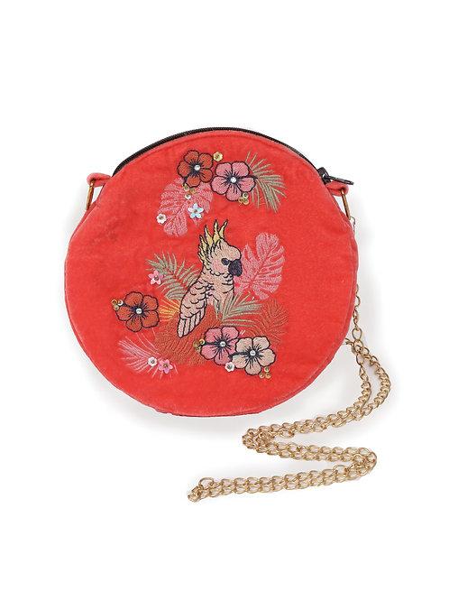Powder Modern Floral Velvet Bag Pink