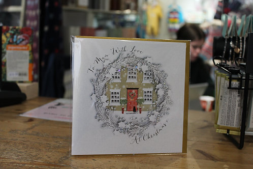 'To Mum with Love at Christmas' Wreath Christmas Card