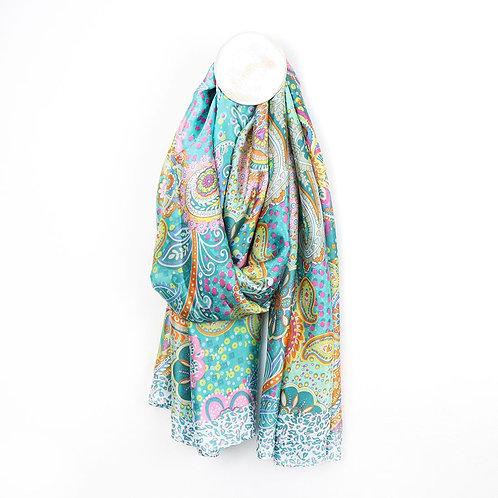 Pom aqua mix silk-like scarf with a paisley print