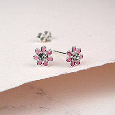 Pom sterling silver and pink enamel daisy crystal earrings
