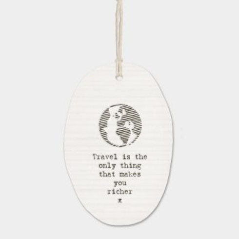 East of india 'travel is the only thing' porcelain hanging oval ornament
