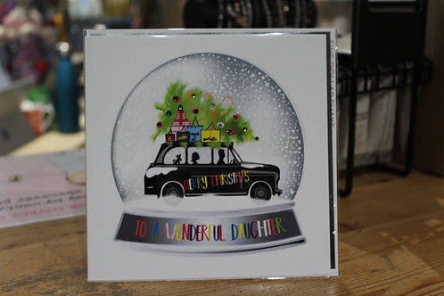'Merry Chrisrmas to a Wonderful Daughter' Black Car Daughter Christmas Card