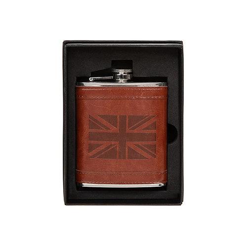 Men's Brown Union Jack Hip Flask