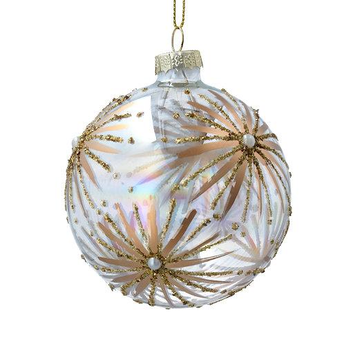 Gisela Graham Clear Gold Holly Christmas Bauble