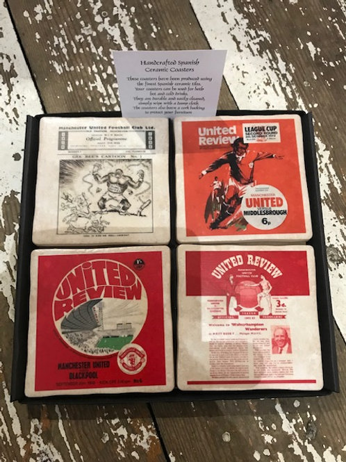 Football program cermaic coaster set of 4- Manchester United