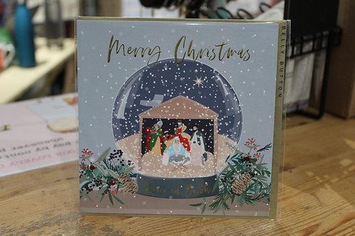 Belly Button 'Merry Christmas' Manger Snow Globe Christmas Card