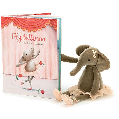 Jellycat Elly Ballerina Picture Book+ Bashful Elephant (sold separately)