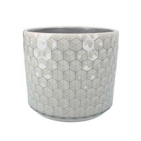 Gisela Graham Pot Cover Retro Grey Hexagons