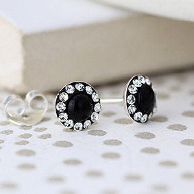 Pom sterling silver round crystal earrings with black centre