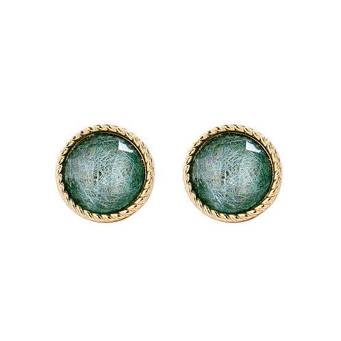 Last true angel large round gem earrings