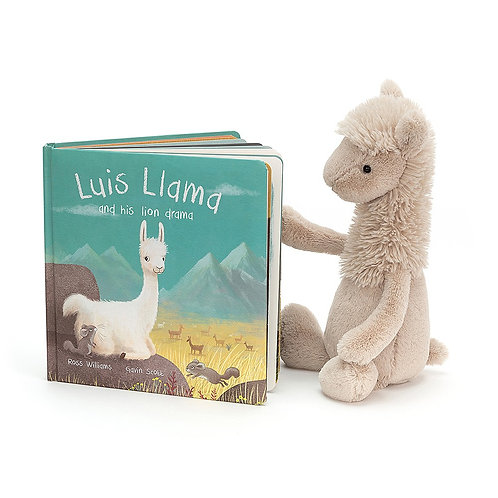 Jellycat Luis Llama Picture Book+ Bashful Llama (sold separately)