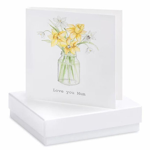 Crumble and core 'love you mum' boxed earring card