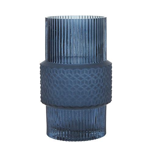 Bahne blue large patterened glass vase