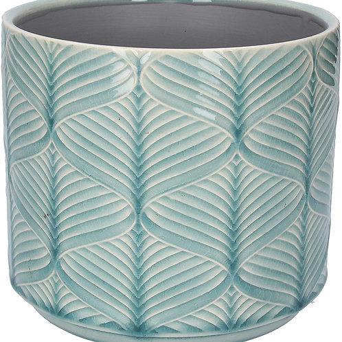 Gisela Graham Wavy Patterned Pot Cover - Blue