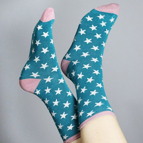 Pom teal and pink star ankle socks