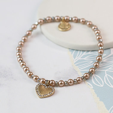 Pom pink pearl and golden heart bracelet with crystals