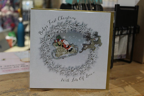 'Baby's First Christmas With Lots of Love' Sleigh Baby Christmas Card