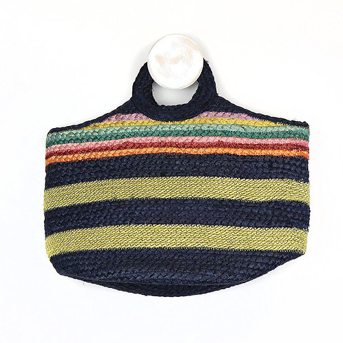 Pom natural jute bag with rainbow band and gold and navy stipes
