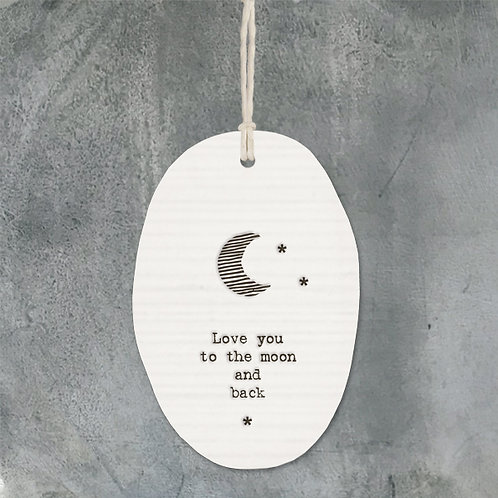 East of india 'love you to the moon and back' porcelain oval hanging