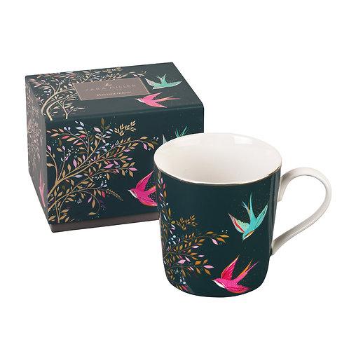 Sara Miller Portmeirion Dark Green Bird Mug