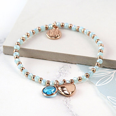 Pom aqua bead and rose gold heart charm bracelet with crystal