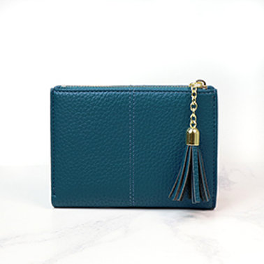 Pom faux leather tassled wallet