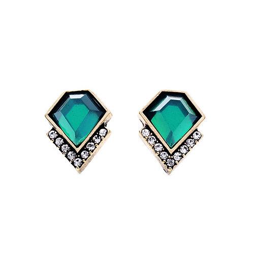 Last true angel green diamond shaped earrings