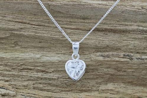 Jambo jewellery sterling silver clear heart pendant