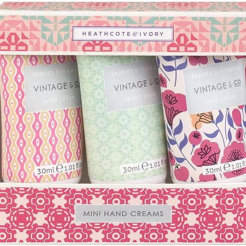 Vintage & Co Fabrics & Flowers Mini Hand Creams 3 x 30ml