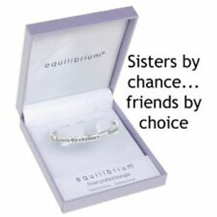 Equilibrium 'sisters by chance... friends by choice'silver bracelet