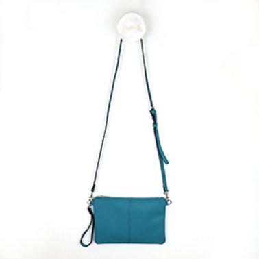 Pom blue vegan leather shoulder bag