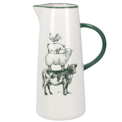 Gisela Graham green and white farmyard jug