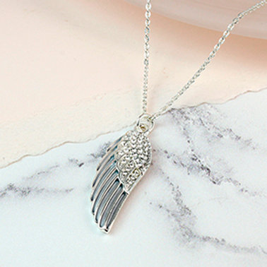 Pom silver plated enamel angel wing necklace with crystals
