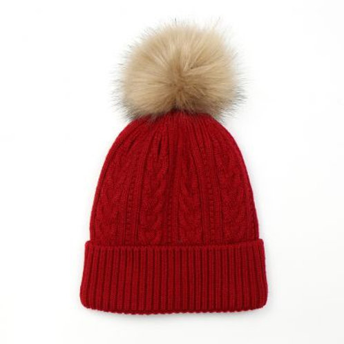 Pom Red and Faux Fur Cable Knit Bobble Hat