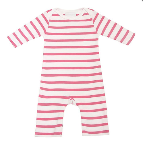 Bob and blossom coral pink and white breton striped all-in-one