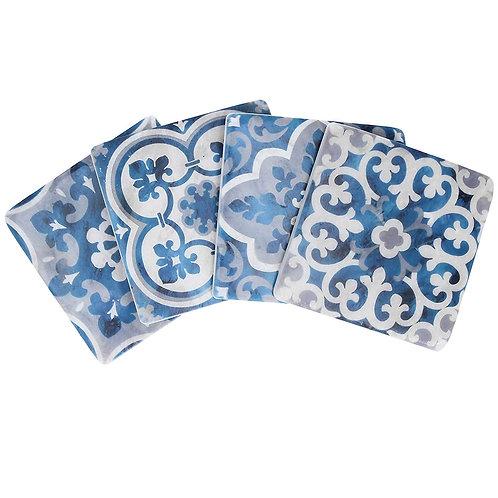 Gisela Graham Set of 4 Blue/Grey Mosaic Tile Coasters