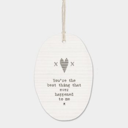 East of india 'you're the best thing' porcelain hanging oval ornament