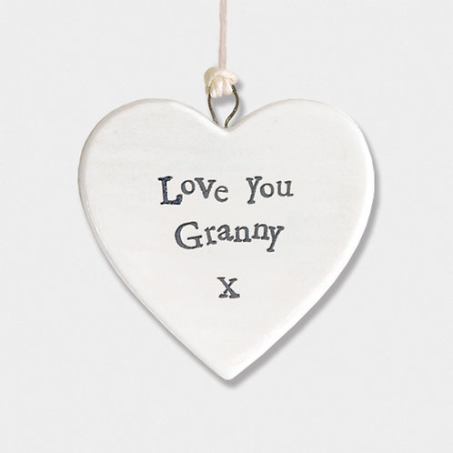 East of india 'love you granny' porcelain hanging small heart
