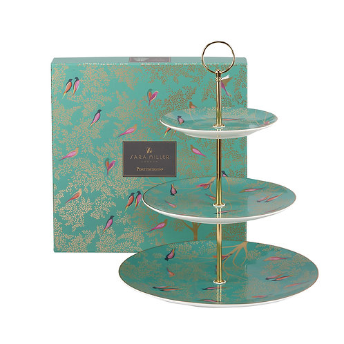 Sara Miller Portmeirion Green Tiered Cake Stand