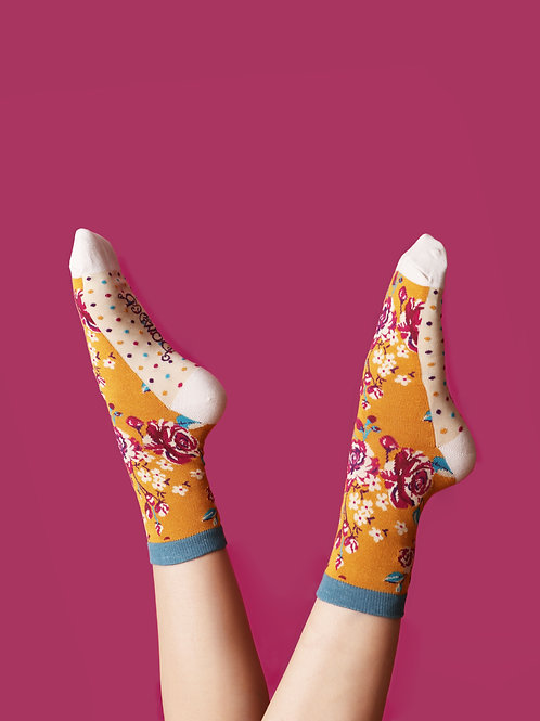 Powder Mustard and Cream Floral Bamboo Socks