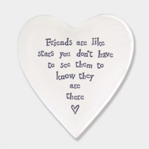 East of India 'friends are like stars' Porcelain heart coaster