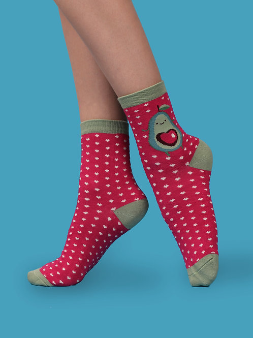 Powder Pink Polka-dot Avacado Bamboo Socks