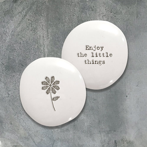East of india 'enjoy the little things' boxed double sided pebble