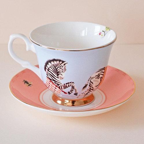 Yvonne ellen teacup and Saucer carnival zebra