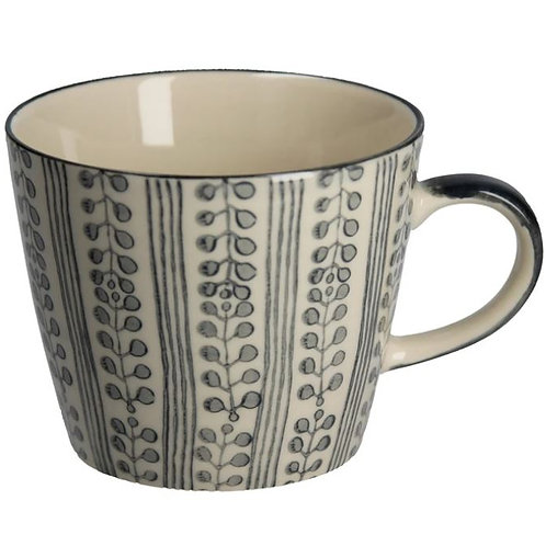 Gisela Graham Dark Grey Pattern Ceramic Mug