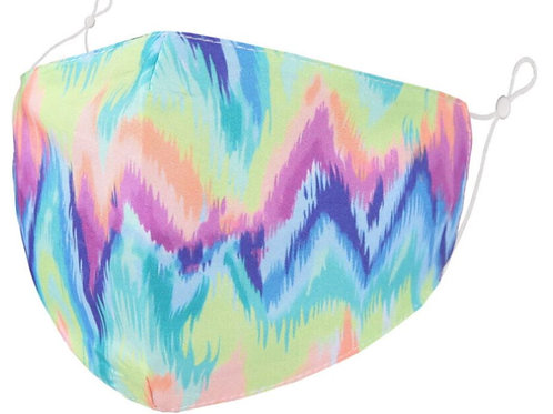 Zelly Fashion Face Covering - Zig-Zag Rainbow Tie Dye