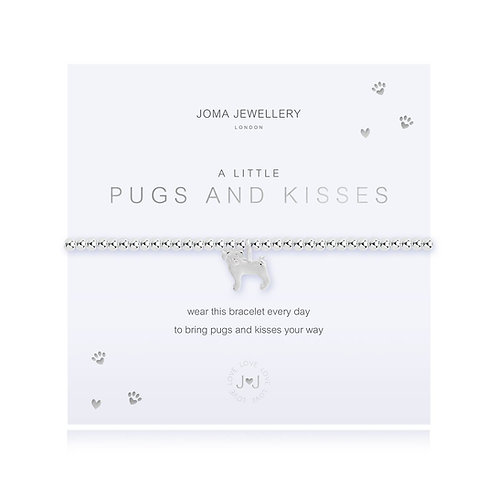 Joma Jewellery 'a little pugs and kisses' silver plated bracelet
